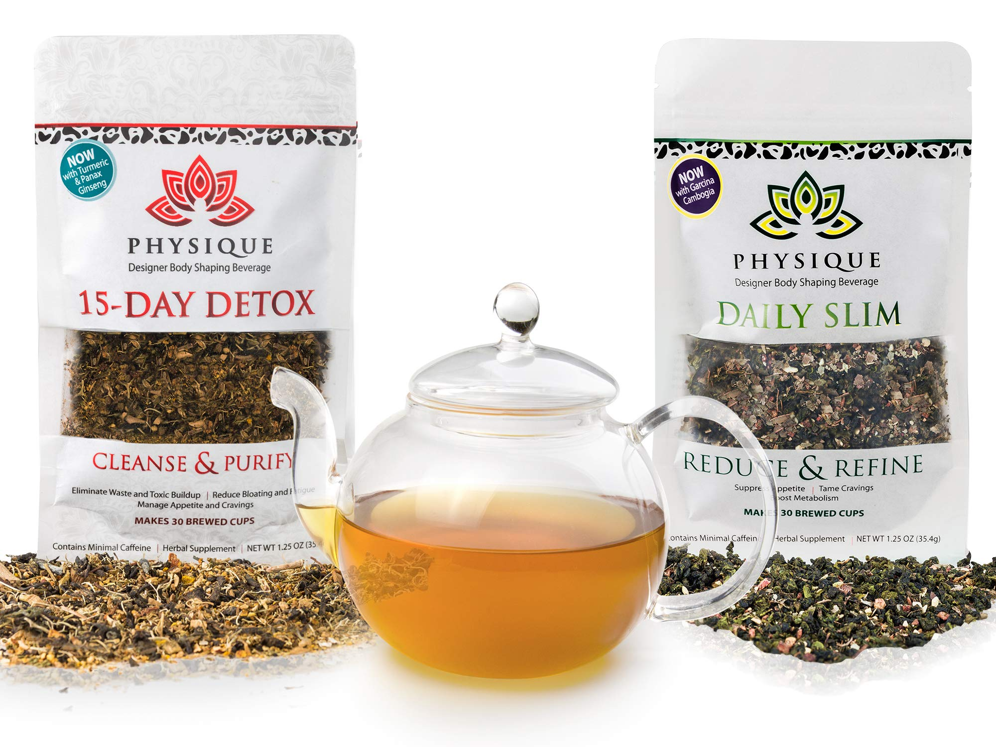 Physique Tea Ultimate Body Cleanse & Slimming Tea | Custom Blends to Reduce Bloating, Hunger and a Fat Tummy | Garcinia Cambogia & Turmeric Anti-Inflammatory & No Laxative Tea | Detox Diet Included by Physique
