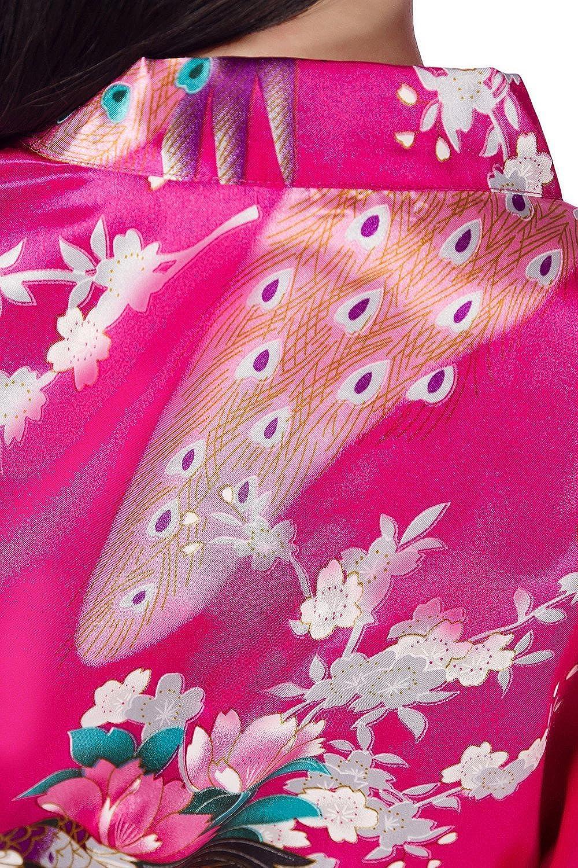 Robe peignoir en satin pyjamas natation Anniversaire de mariage Dolamen Kimono Robe Filles Filles Enfant Gar/çon Chemises de nuit Paon et fleurs