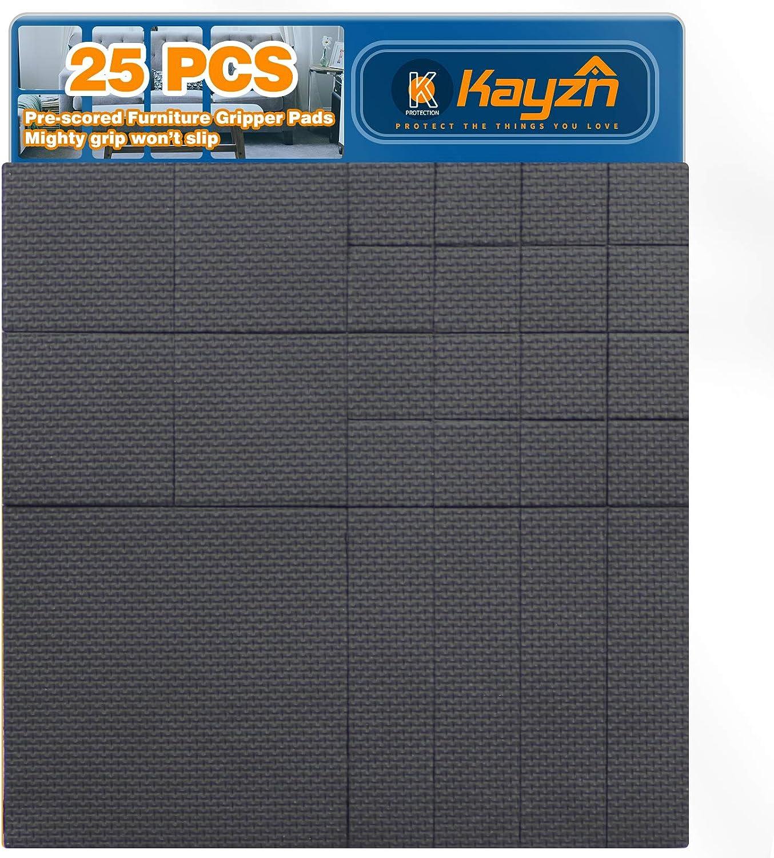 Kayzn 25pcs Non Slip Furniture Pads Black Thick Rubber Grippers Stops Sliding - Pre-Cut Multiple Size 4
