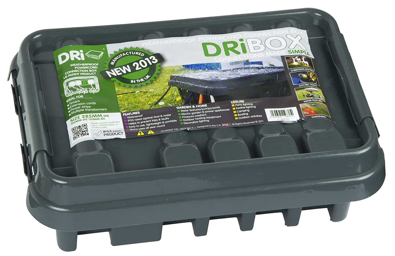 Amazon.com: Dri-Box FL-1859-285 IP55 Weatherproof Box, Black, Medium ...