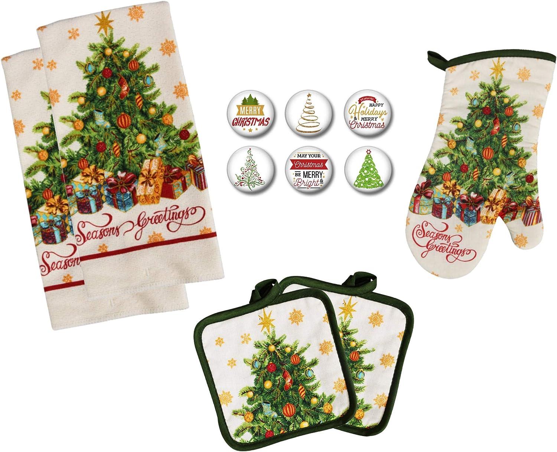 Farmhouse Daisy Designs Christmas Kitchen Decor Towel Set with Pot Holders Oven Mitt and Set of 6 Christmas Tree Refrigerator Magnets Set - (Christmas Tree)