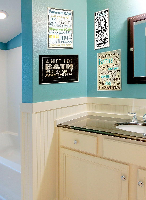 Amazon.com: Stupell Home Décor Bathe Wash Your Worries Typography ...