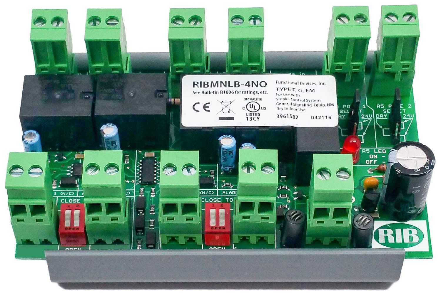 RIBMNLB-4NO | FDI | Panel RIB logic board, 4 Normally Open inputs, 2.75in by Functional Devices (Image #1)
