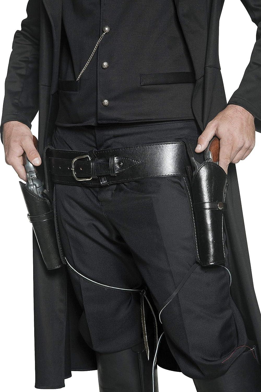 Smiffy'S 36171 Cinturón Auténtico Y 2 Pistoleras Con Cintas Para Las Piernas, Negro