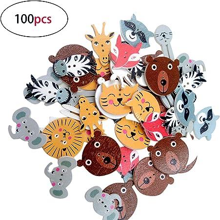 10 ronde en bois Cartoon Puppy Design BOUTONS 15 mm couture Scrapbook Artisanat