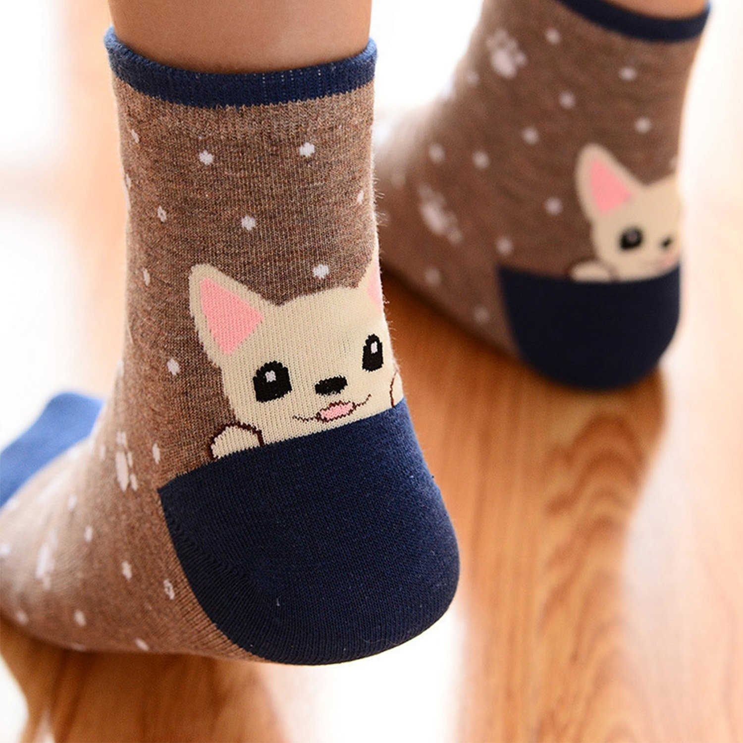 Womens Cute Animal Painting Socks, Funny and Cool 100% Cotton Art Dog Socks for Women, (5 Pack) Mix Color 5, One Size at Amazon Womens Clothing store:
