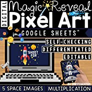 Multiplication & Division Fact Practice on Google Sheets - Self Checking - Outer Space Themed - Magic Reveal - Digital Pixel