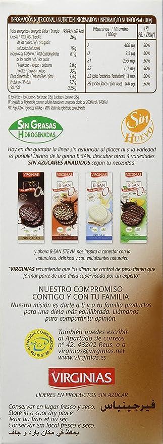 Virginias Galleta B-San Chocolate Con Leche Sin Azúcares - 120 g: Amazon.es: Amazon Pantry
