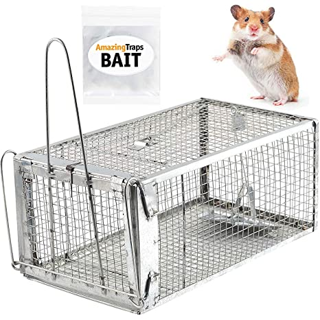 Amazon.com : AmazingTraps Medium Humane Animal Trap w/Starter Bait - Catches Rats, Mice, Squirrels, Opossums, Moles, Weasels, Gophers, and Other Small ...
