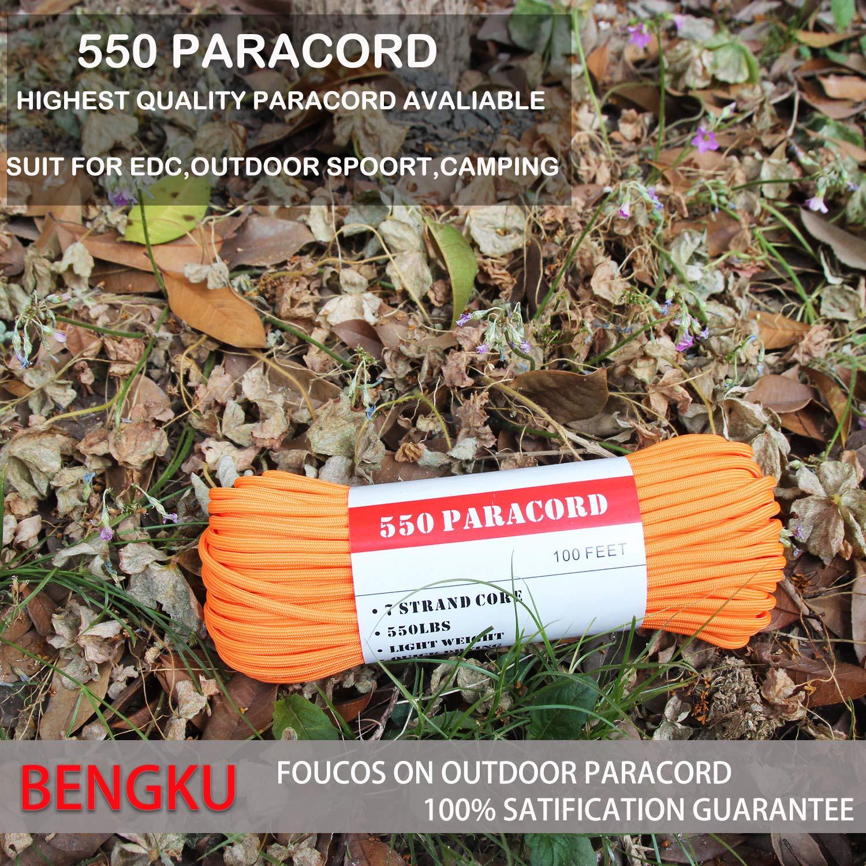 BENGKU Camping Paracord Outdoor Survival Mil-SPEC 550lb Paracord/Parachute Cord(MIl-C-5040-H),100Feet,100% Nylon. (Orange, 100) by BENGKU (Image #3)