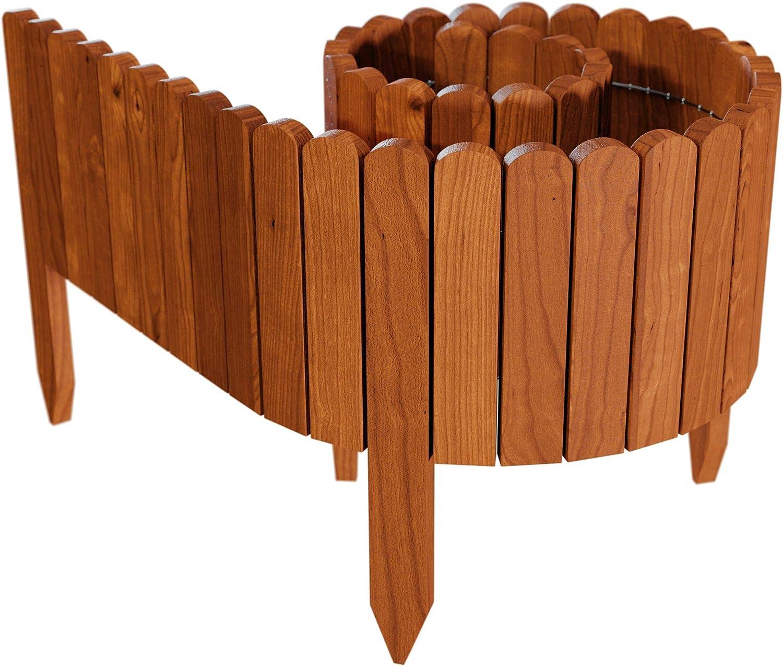 Floranica® Bordura Fija de Madera, Rollborder, logitud de 203 cm (acortado), Valla, Cenefa del arriate, Borde del arriate, Borde del césped palisada, intemperizada, Color:marrón, Altura:20 cm