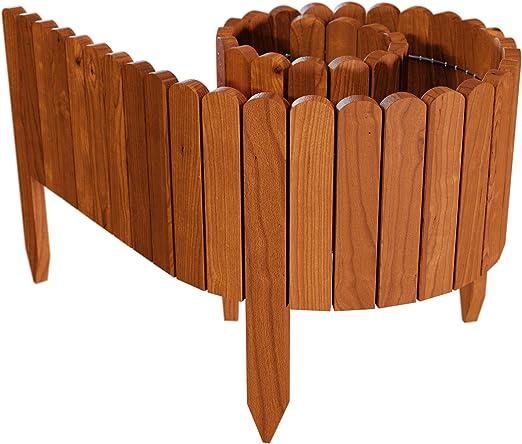 Floranica® Bordura Fija de Madera, Rollborder, logitud de 203 cm (acortado), Valla, Cenefa del arriate, Borde del arriate, Borde del césped palisada, intemperizada, Altura:20 cm, Color:marrón: Amazon.es: Jardín