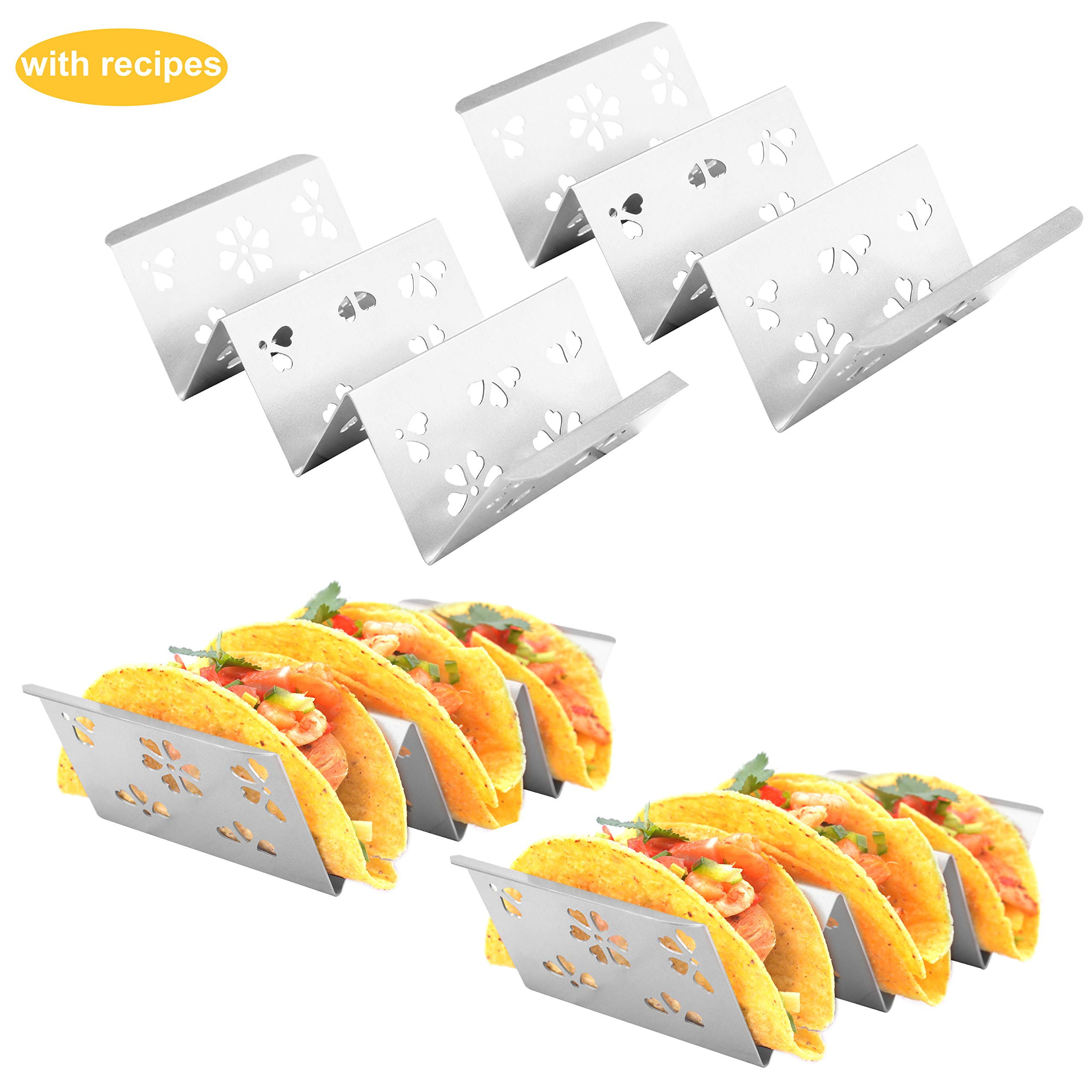 Yoku Made 4 Pack Stylish Designed Stainless Steel Taco Holder with Handles for Hard and Soft Tacos, w Flower Die Cut, No Sharp Edges No Rust, Dishwasher Safe, Oven Safe, Grill Safe by Yoku Made