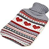 Harbour Housewares Full Size Hot Water Bottle With Knitted Cover - Grey Heart