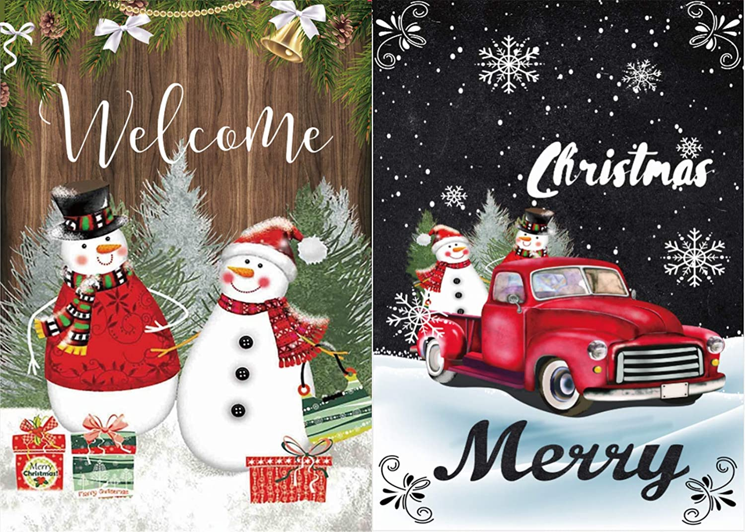 Pack of 2 Merry Christmas Garden Flag Double Sided Snowman Winter Garden Flag Holiday Yard Decorations Outdoor Flags 12.5 x18