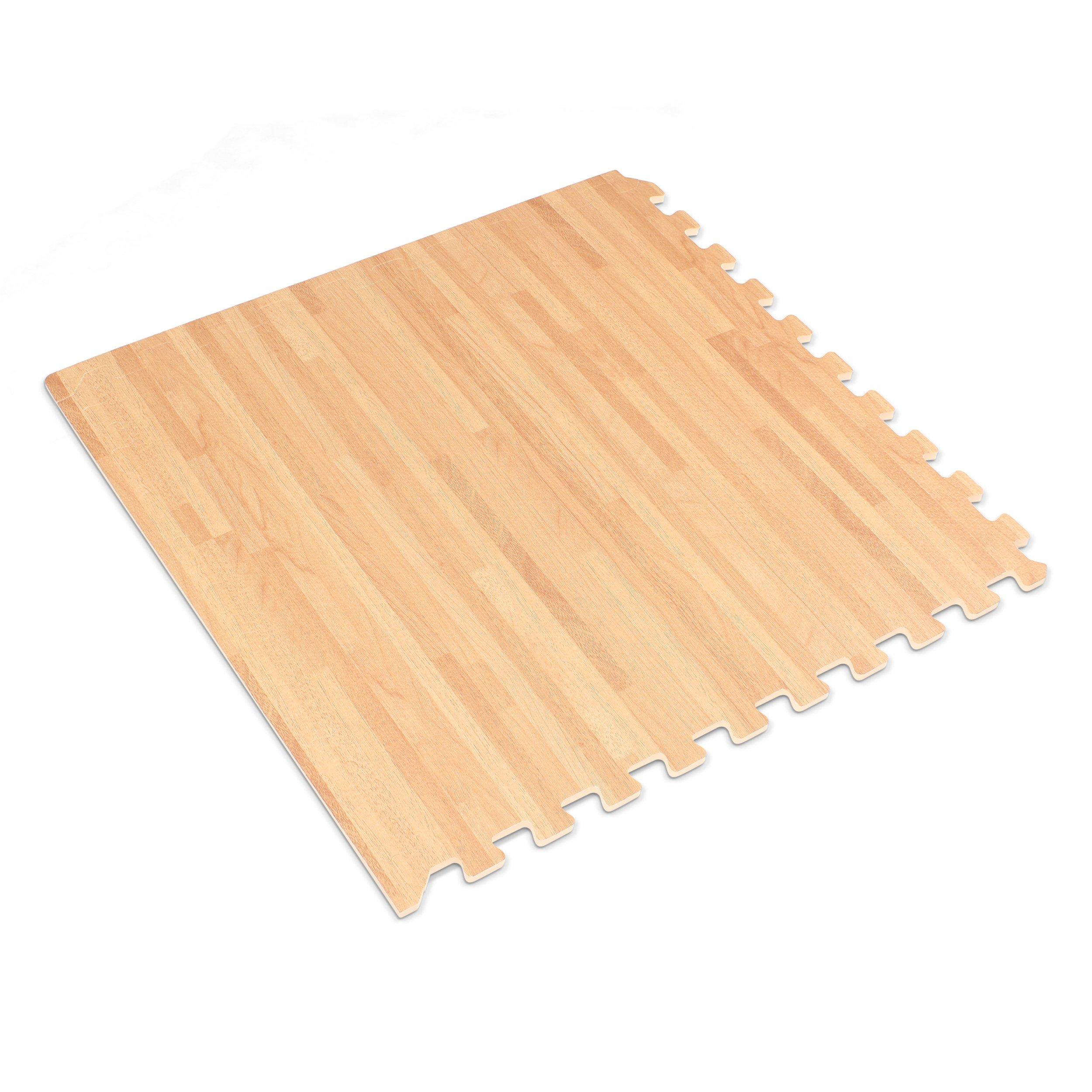 Forest Floor 3/8'' Thick Printed Wood Grain Interlocking Foam Floor Mats, 16 Sq Ft (4 Tiles), White Oak by Forest Floor (Image #2)