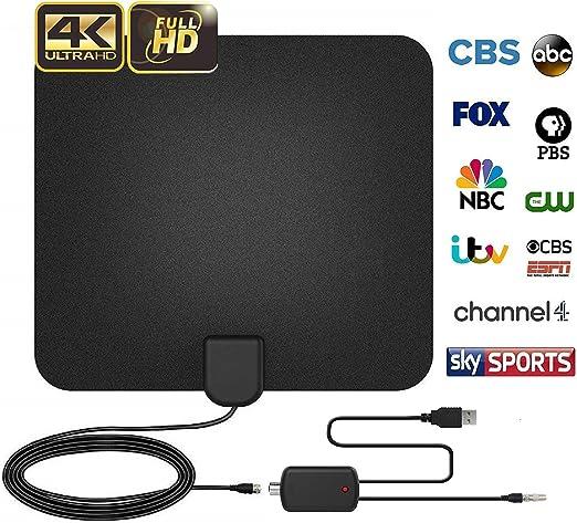 Antenas de TV, [2018 Version Mejorada] Digital Antena Interior TV, Mayor Rango de Recepción de 60 Millas/96 KM Amplificador Antena HDTV con Desmontable Amplificador de Señal y Cable Coaxial 16 Pies: Amazon.es: Electrónica