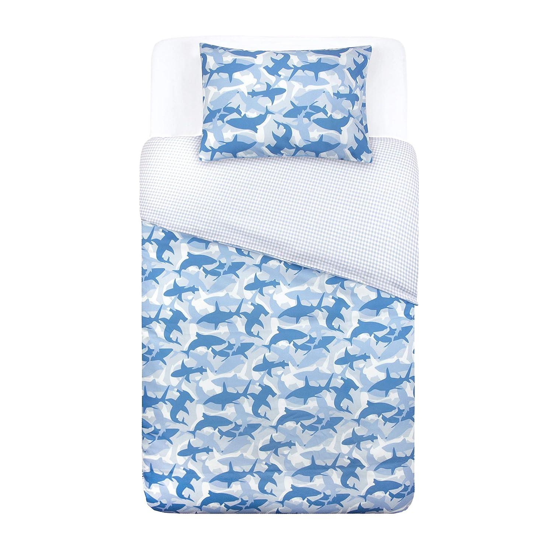 Tadpoles Toddler 2Piece Microfiber Duvet Cover Set Shark, Blue