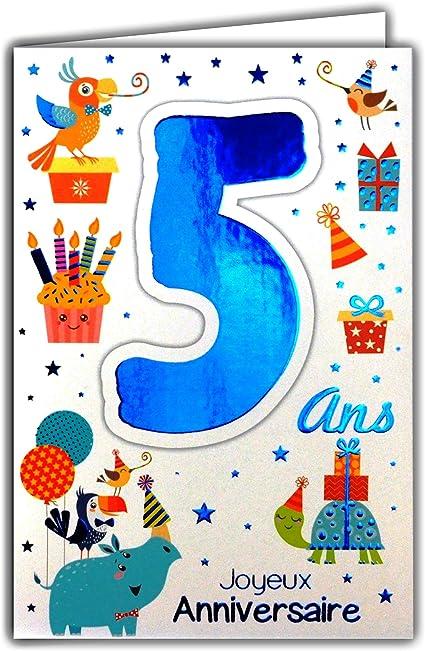 69 2105 Carte Joyeux Anniversaire 5 Ans Enfant Garcon Fille Grenouille Nenuphar Ferme Tracteur Campagne Amazon Fr Fournitures De Bureau