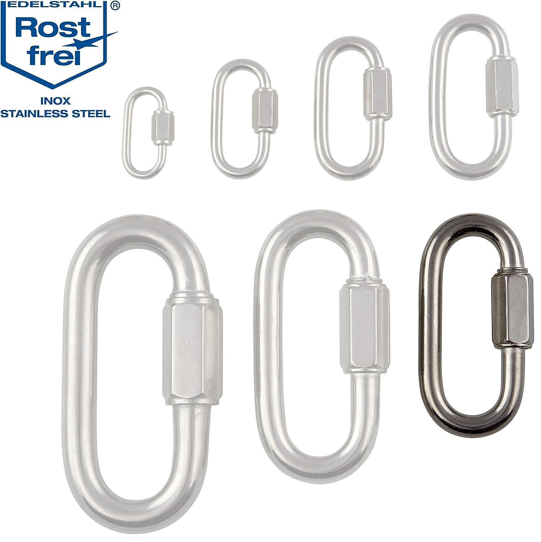 Conector roscado de acero inoxidable V4A, diseñ o resistente de 3 –  12 mm de grosor de material, diferentes cantidades, eslabó n de cadena, mosquetó n con tornillo, cierre rá pido de cadena, eslab&oacute