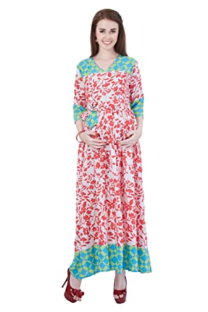 41e4b468ab6cc MomToBe Women's Rayon Strawberry Pink & Harlequin Green Maternity Dress:  Amazon.in: Clothing & Accessories