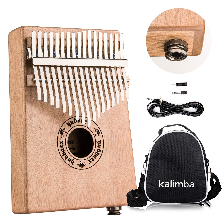 Yubbaex Kalimba 17 Keys Thumb Piano Electric Built-in Hi-Fi Pickup 6.35mm Audio Interface & Mibra Case of Musical Instrument Gift