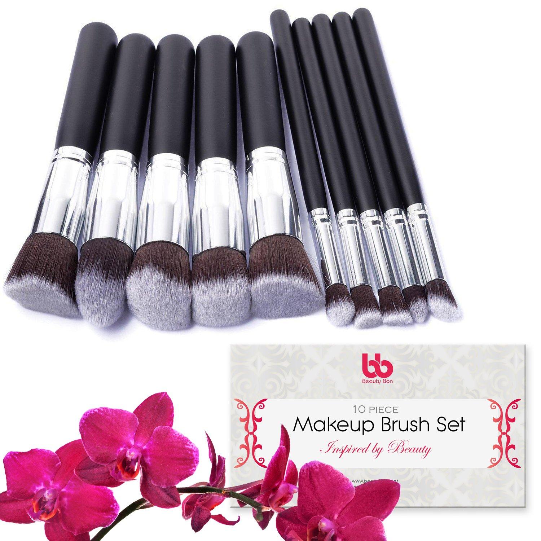 Professional Makeup Brushes, 10 Piece Set, Vegan, with Plastic Handles, Great. Beauty Bon Makeup Brush Set 10 pieces