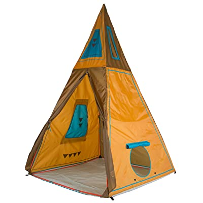 """Pacific Play Tents 30610 Kids Giant Tee Pee Tent Playhouse, 59"""" x 59"""" x 96"""", Brown, Large: Toys & Games"""
