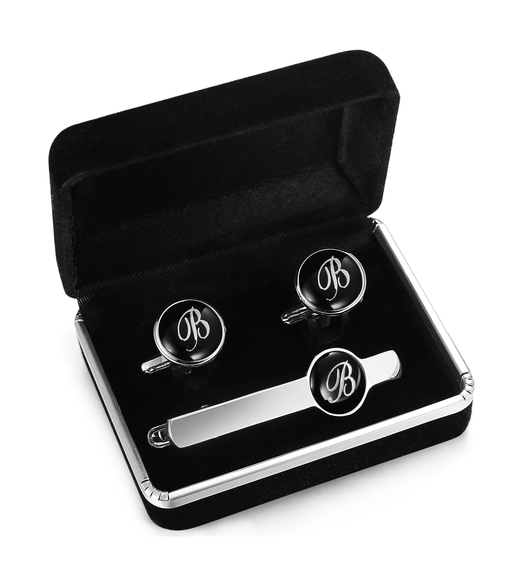 Jstyle Tie Clip and Cufflink Set For Mens Tie Bar Clips Cufflinks Shirt Wedding Business With Gift Box,Alphabet A-Z (Alphabet B)