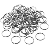 "1"" (25mm) Nickel Plated Silver Steel Round Edged Split Circular Keychain Ring Clips for Car Home Keys Organization, Arts & Crafts, Lanyards (100 Pack) by Super Z Outlet"