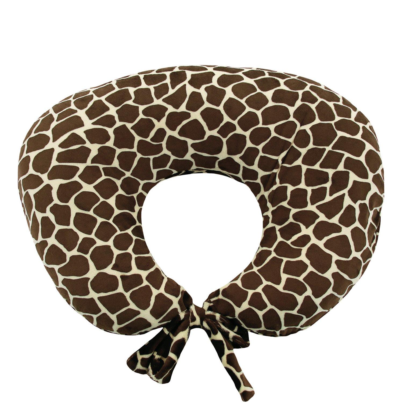 My Blankee Nursing Pillow with Giraffe Print Minky Slipcover, Butter/Brown, Small/Medium