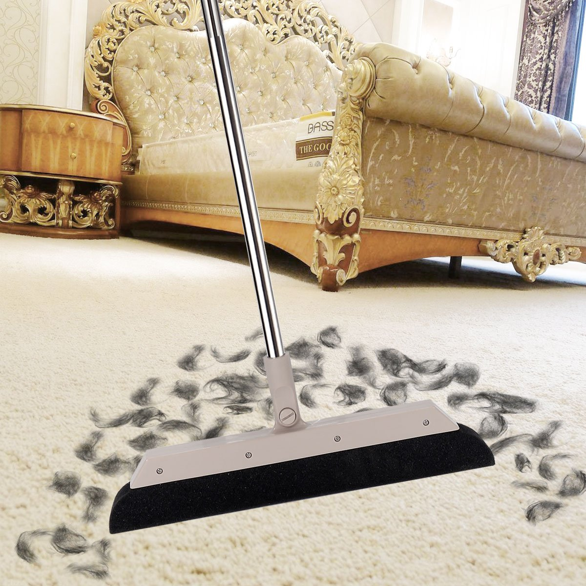 MEIBEI Sponge Broom Dust Cleaner, 37.4'' Adjustable Long Handle with 13.8'' Wide Blade, Perfect for Wood Tile Marble Carpet & Glass by MEIBEI (Image #2)