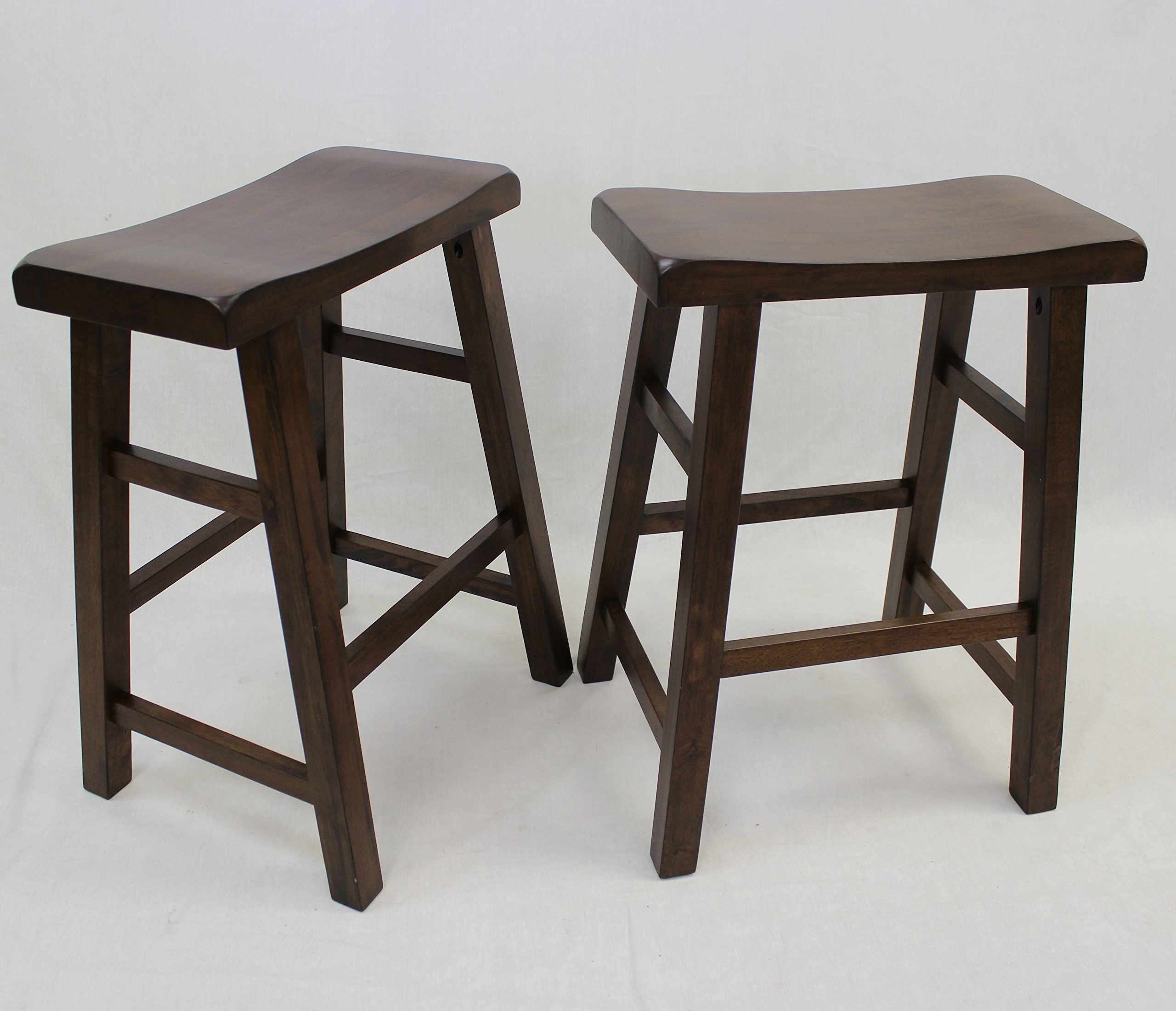 eHemco Set of 2 Heavy Duty Saddle Seat Bar Stools Counter Stools - 24'' Walnut by eHemco