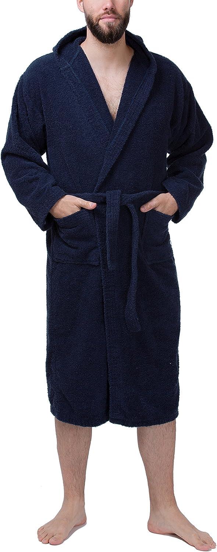 SLOUCHER accappatoio da sauna con cappuccio al 100/% cotone Accappatoio in spugna da uomo