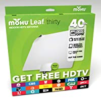 Mohu Leaf 30 TV Antenna, Indoor, 40 Mile Range, Original Paper-Thin, Reversible, Paintable, 4K-Ready HDTV, 10 Foot Detachable Cable, Premium Materials for Performance, USA Made, MH-110583