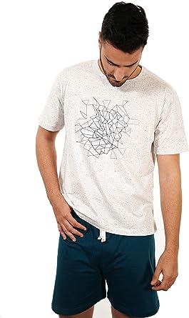 BABELO HOMEWEAR - Pijama de Hombre de Verano – Pijama de Hombre 100% algodón étnico - Pijama de Hombre de Verano Corto Punto algodón – Color Blanco y ...
