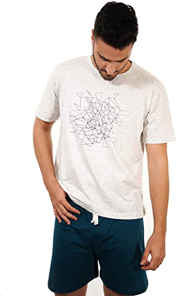 Babelo Homewear - Pijama de Hombre de Verano – Pijama de Hombre 100% algodón étnico - Pijama de Hombre de Verano Corto Punto algodón – Color Blanco y Turquesa – Moda Homewear: Amazon.es: Ropa y accesorios