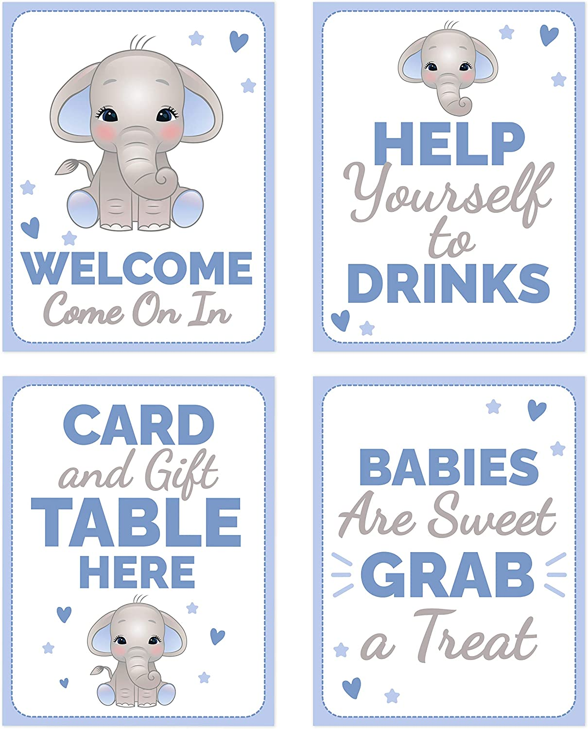 Blue Elephant Baby Shower Table Decorations Signs - Centerpiece Decor Supplies for Boys