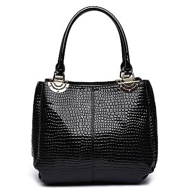 5bf6767911df LeahWard Women s Patent Snake Skin Print Shoulder Bags Ladies Designer Tote  Handbags Bag 243 (Black)  Amazon.co.uk  Shoes   Bags