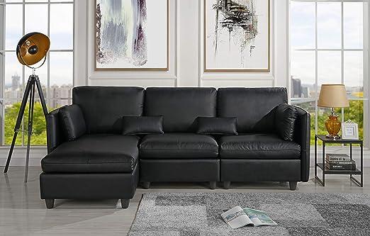 Amazon.com: L-Shape Living Room Leather Match Sectional Sofa ...