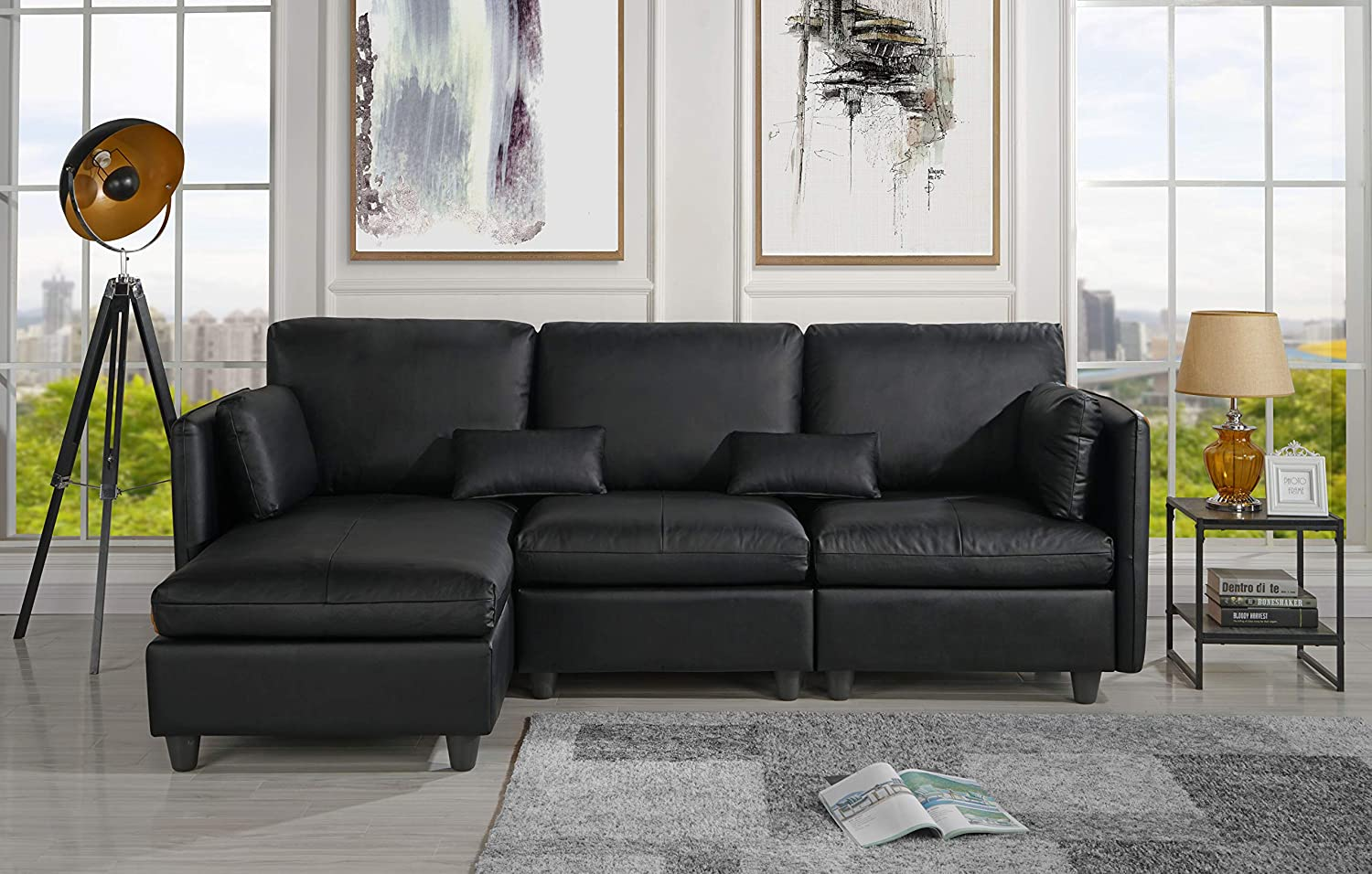 Amazing Amazon Com L Shape Living Room Leather Match Sectional Sofa Pabps2019 Chair Design Images Pabps2019Com