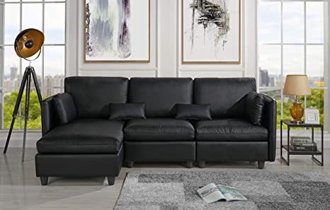 Amazing Amazon Com L Shape Living Room Leather Match Sectional Sofa Caraccident5 Cool Chair Designs And Ideas Caraccident5Info