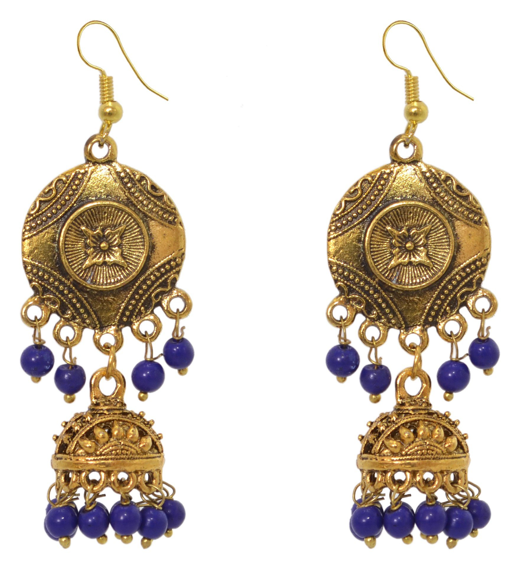 Sansar India Oxidized Antique Golden Beaded Jhumka Jhumki Indian Earrings Jewelry for Girls and Women