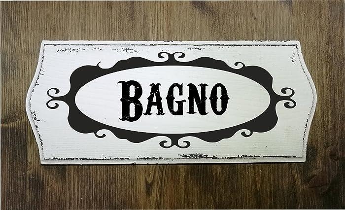 Insegne Negozi In Legno : Targa insegna in legno effetto vintage shabby chic bagno cm