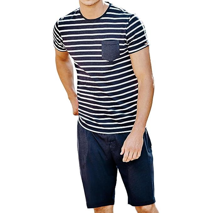 Conjunto De Pijama De Jockey Rayada Jersey T-shirt Y Pantalones Cortos De Los Hombres