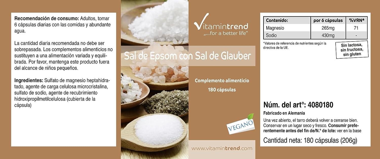 Sal de Epsom y sal de Glauber - con base de Magnesio y Sodio - 180 cápsulas: Amazon.es: Salud y cuidado personal