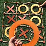 SWOOC Games - Giant Wooden Tic Tac Toe Game (All Weather)   3ft x 3ft   Big Wood X & O Pieces with Rope Game Board   Large Ou