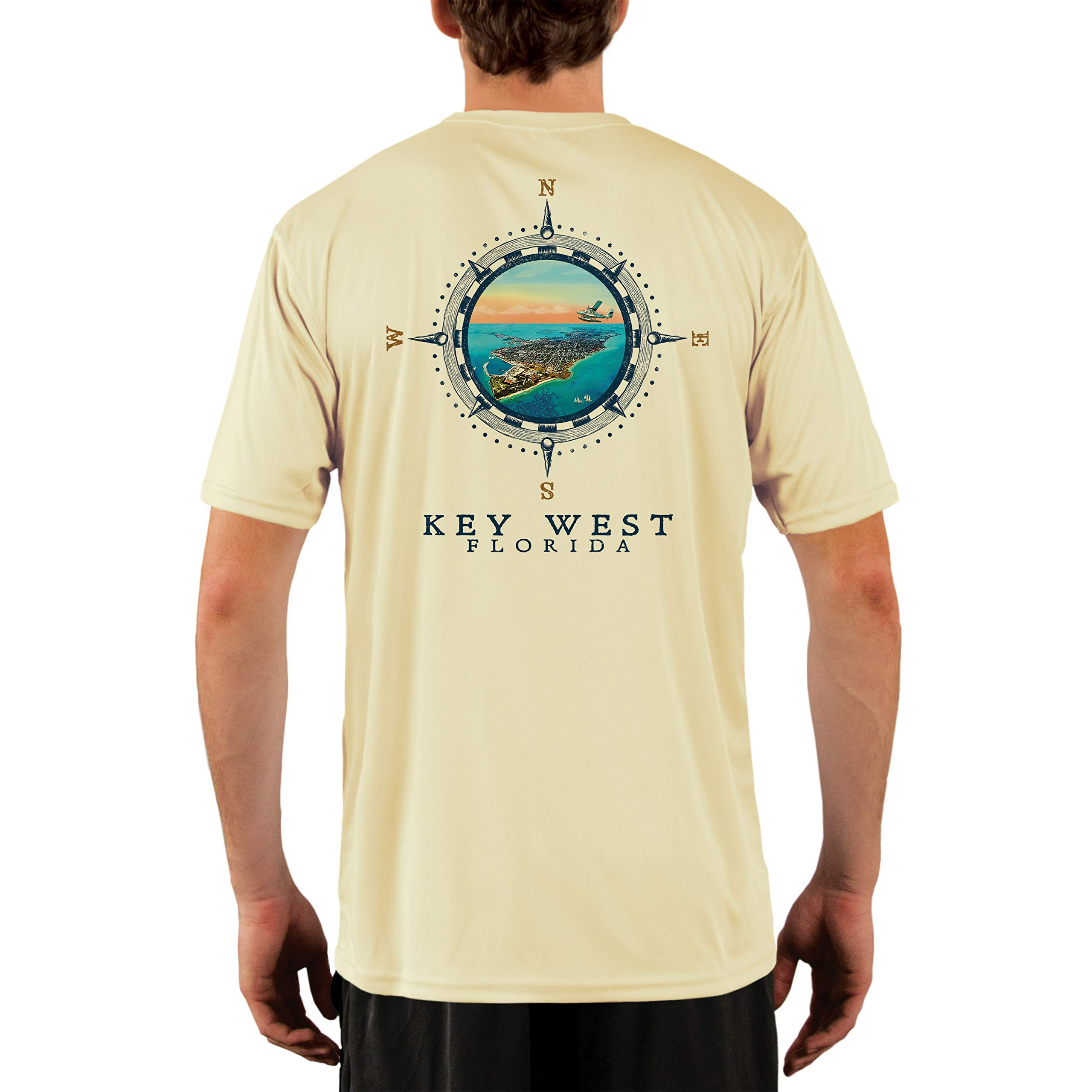 Compass Vintage Key West Men's UPF 50+ Short Sleeve T-Shirt Large Pale Yellow by Altered Latitudes