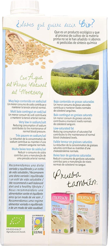 Monsoy - Bebida Ecológica de Almendras sin azúcar - Caja de 4 x 1L ...
