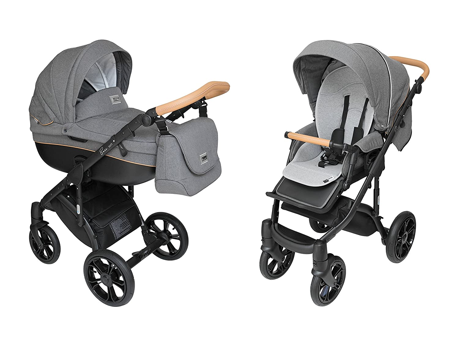 ROAN BASS Soft Stroller 2-in-1 with Bassinet for Baby, Toddler s Five Point Safety Reversible Seat, Swivel Air-Inflated Wheels, Unique Shock Absorbing System and Great Storage Basket Black Cognac